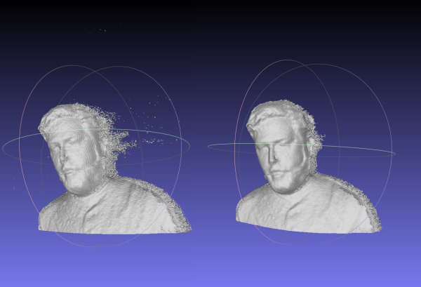 Before and after running a script to decimate, smooth, and reposition the mesh